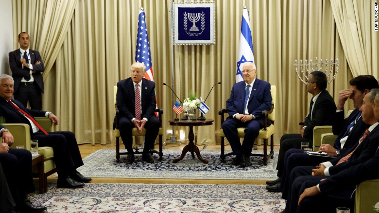 Trump meets with Israeli President Reuven Rivlin in Jerusalem on Monday.