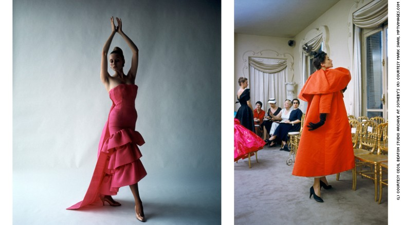 L: Model wearing a flamenco-style evening dress by Cristóbal Balenciaga, Paris. R: Model wearing an orange Balenciaga coat