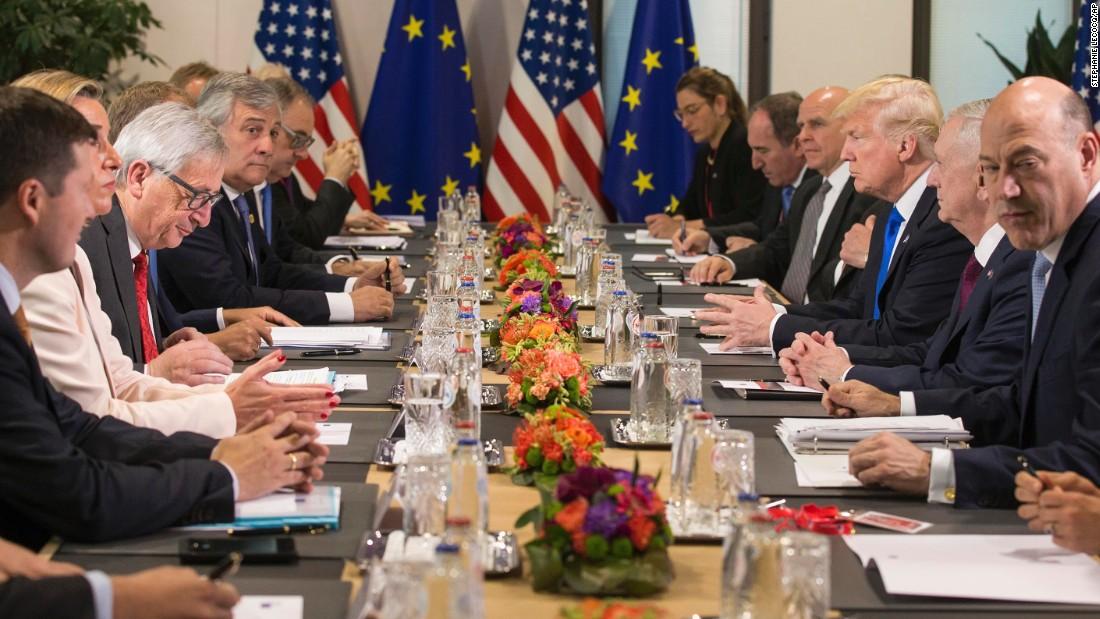 Hasil gambar untuk President Trump has a working dinner with NATO leaders