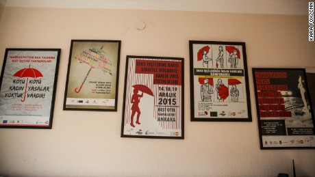 Posters in support of transgender sex workers' rights cover the walls of the Red Umbrella Sexual health and Human Rights Association in Ankara.