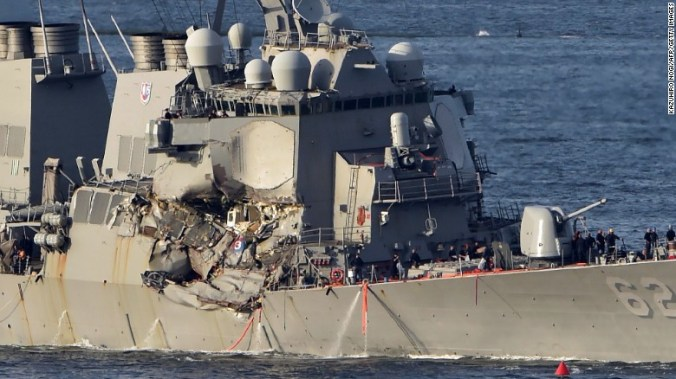 The guided-missile destroyer USS Fitzgerald arrives at the US Naval Base in Yokosuka, Japan, on Saturday.