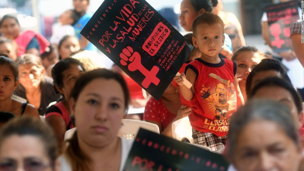 Salvadoran women campaign for the decriminalization of abortion in the capital, San Salvador on February 23, 2017.