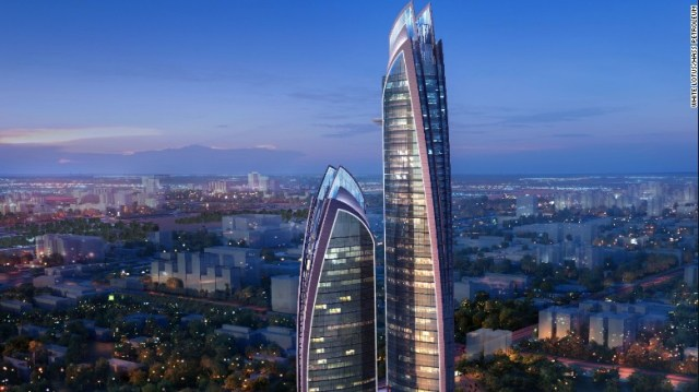 The Pinnacle in Nairobi, Kenya, will be the tallest skyscraper in Africa when it is completed in 2019. The larger of twin glass-facade towers will be 300-meters tall.