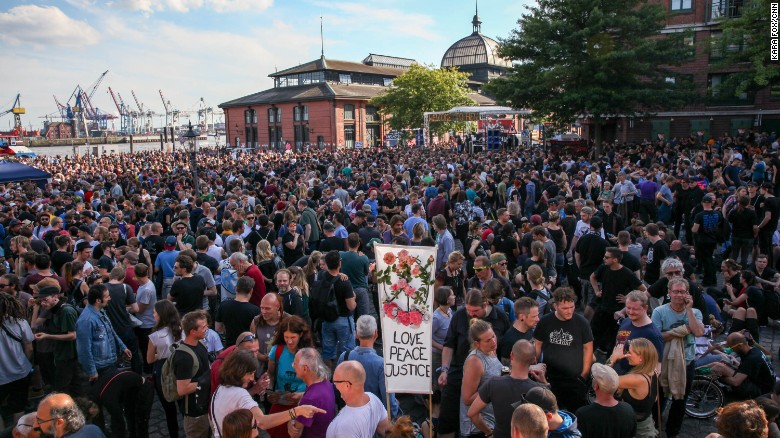 "Up to 12,000 people attended the  anti-G20 protest, ""Welcome to Hell."""