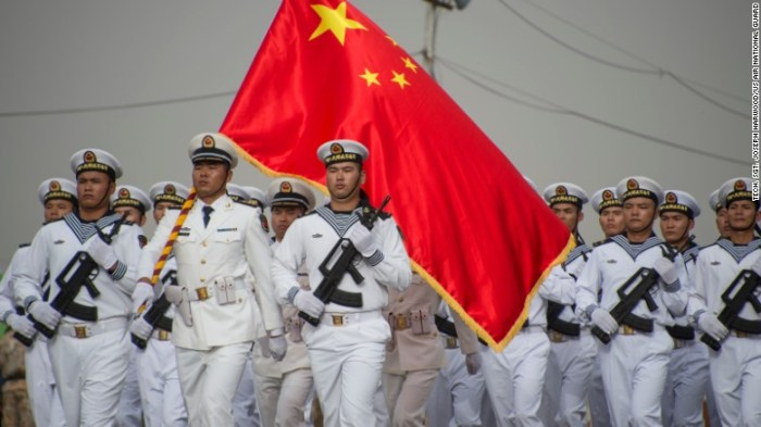 Chinese People's Liberation Army-Navy troops march in Djibouti's independence day parade on June 27, marking 40 years since the end of French rule in the Horn of Africa country.