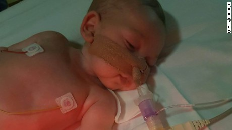 An image released by the family of Charlie Gard shows him in hospital.