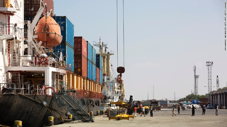 Loading a cargo ship in the Port of Berbera in Somaliland, which is about to receive a major overhaul.