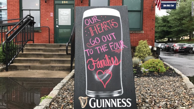 Four young victims remembered outside the Station Tap House in Doylestown, Pennsylvania.