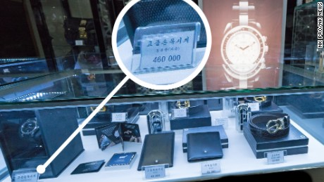 In this photo supplied by NK Pro/NK News, a Montblanc watch can be seen with a price tag of 460,000 KPW -- more than $4,000, according to official exchange rates in July 2017.