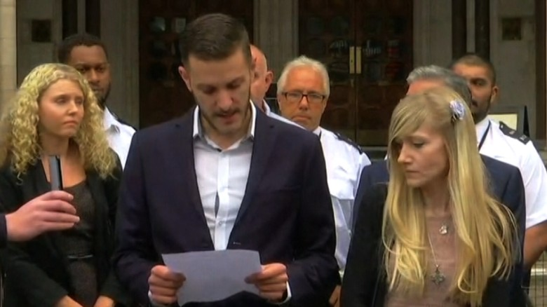 Charlie Gard reads a statement outside the court on Monday.
