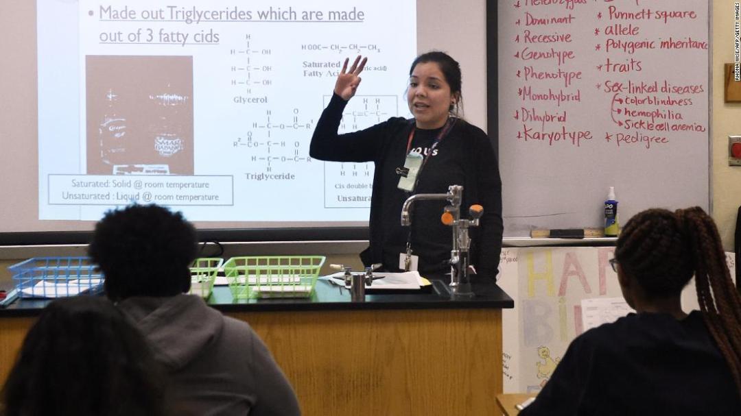 Virginia Escobar-Cheng teaches a science class at a high school in Homestead, Florida, in March.