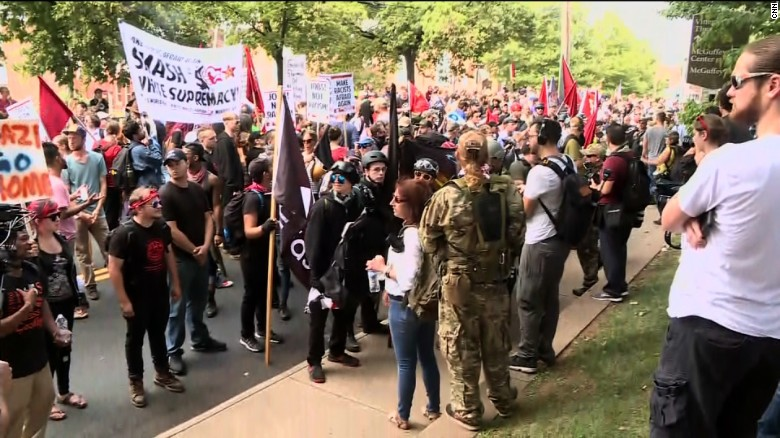 """Counterprotesters gather Saturday morning in Charlottesville, Virginia, ahead of a """"Unite the Right"""" rally."""