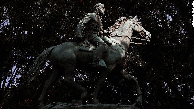"The statue of Thomas Jonathan ""Stonewall"" Jackson stands in Justice Park, formerly known as Jackson Park, in Charlottesville, Virginia."