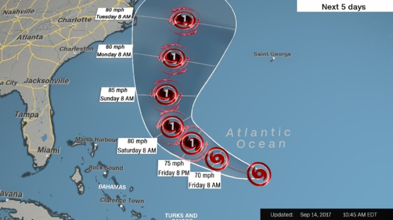 Tropical Storm Jose's forecast path includes the possibility of landfall along North Carolina's Outer Banks.