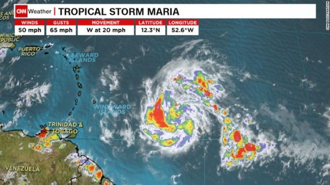 Tropical Storm Maria forms in the Atlantic.