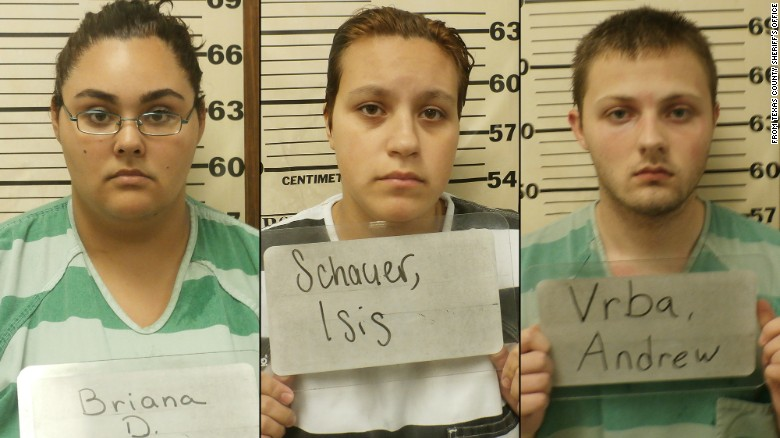 Three of the suspects arrested in connection to the murder of Ally Lee Steinfeld are shown in this undated photo. They are (from left) Briana Calderas, Isis Schauer and Andrew Vrba.