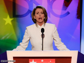 Nancy Pelosi, Speaker of the House of Representatives addressing the Democratic National Convention (CNN)