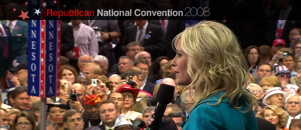 Cindy McCain addressing the Republican National Convention before her husband, Sen. John McCain accepts the partys nomination for President. (CNN)