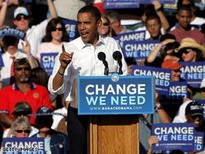 Sen. Barack Obama has tough words for Sen. John McCain during a stop Monday in Pueblo, Colorado.