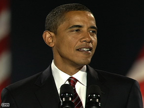 Sen. Barack Obama addresses a crowd of 125,000 people in Chicago, Illinois.