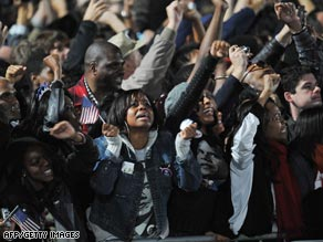 Supporters of Sen. Barack Obama celebrate at his rally in Grant Park in Chicago, Illinois Tuesday night.