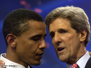 John Kerry, right, and Obama confer at the 2004 DNC, where Obama wowed the crowd with his keynote address.