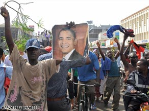 People in Kisumu, Kenya, celebrate the election of Barack Obama.