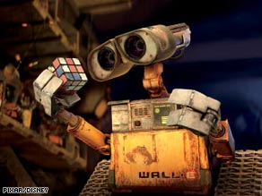 WALL-E ponders a Rubik's Cube in the Pixar film about his life on a wasted Earth.