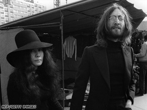 John Lennon and his wife Yoko Ono, seen here in 1969 at a Paris Flea Market.