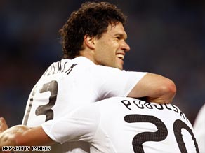 Ballack celebrates the goal that sent Germany into the semifinals of the European Championship.