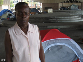 Debra Reed lived in a tent after Katrina and says she needed the supplies given away by FEMA.