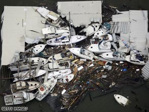 Boats and debris lie in a pile in Galveston, Texas, on Saturday after Ike smashed into the Gulf Coast.