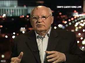 Mikhail Gorbachev told CNN's Larry King that Russia called extra troops into Georgia to stem violence.