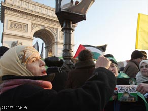 People in the French capital Paris demonstrate against the Israeli air strikes on Gaza.