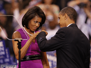 Barack Obama and wife Michelle famously fist bumped when the Illinois senator captured the Democratic nomination.