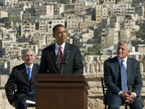 Barack Obama with Senators Jack Reed and Chuck Hagel in Amman, Jordan during Obama's tour across the Middle East. (PHOTO CREDIT: GETTY IMAGES)