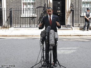 Obama speaks outside 10 Downing Street in London Saturday.