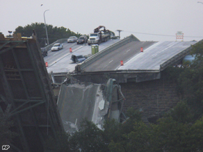 Interstate 35W bridge in Minneapolis after it collapsed on Aug. 1, 2007