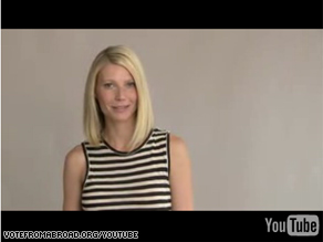 Actress Gwyneth Paltrow appears in a new Web ad encouraging Democrats living overseas to obtain absentee ballots and vote for Sen. Barack Obama.