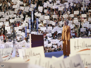 Delegates hold up signs in support of Sen. Hillary Rodham Clinton, at the Democratic National Convention in Denver, Tuesday.