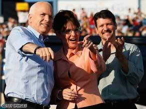 McCain and Sarah and Todd Palin campaigning in Washington, Pennsylvania.