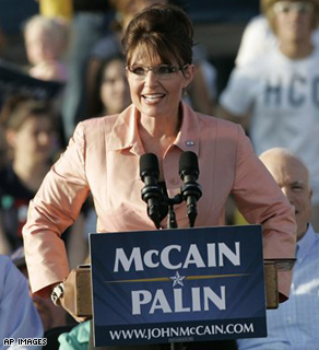 Republican vice presidential candidate, Alaska Gov. Sarah Palin, addresses the crowd at a campaign stop in Washington, Pa. Saturday.