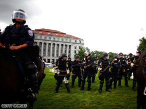 Police were on guard Thursday at the Republican National Convention in St. Paul.