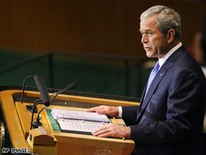 President Bush speaking at the U.N.