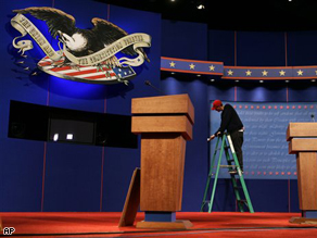 Workers prepare for Thursday's vice presidential debate at Washington University in St. Louis.