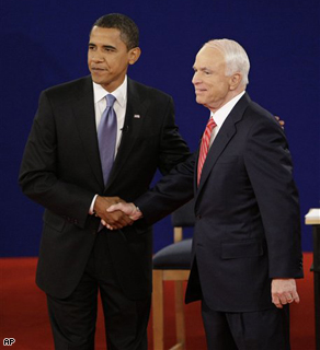 Democratic presidential candidate Sen. Barack Obama and Republican candidate Sen. John McCain shake hands at the start of a townhall-style presidential debate at Belmont University in Nashville, Tennessee, Tuesday.