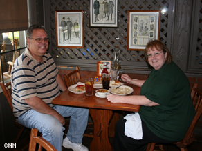 Roger and Linda Crady enjoy lunch and talk presidential politics
