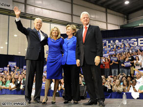 The Clintons and the Bidens campaigned together Sunday.