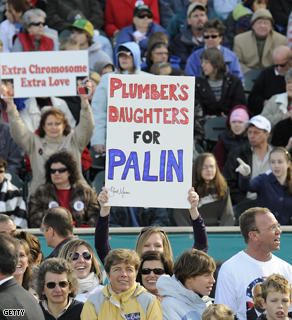 Supporters at Sarah Palin's 'Road to Victory Rally' in Lancaster, Pennsylvania on Saturday.