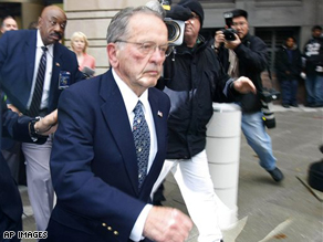 Sen. Ted Stevens leaves federal court in Washington, Monday, after a guilty verdict was returned by the jury at his trial.